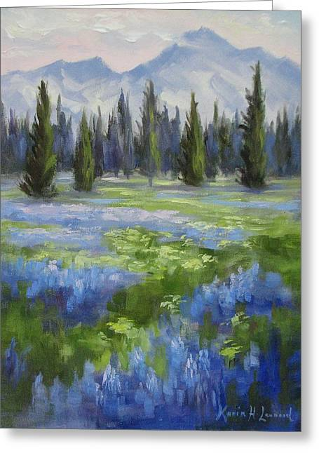 Mountain Meadow Greeting Card by Karin Leonard