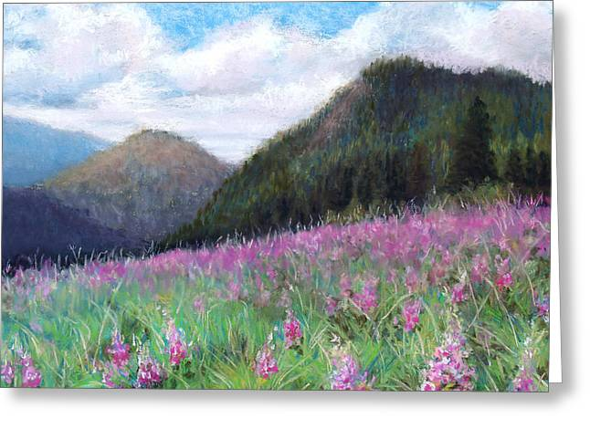 Meadow Pastels Greeting Cards - Mountain Meadow Greeting Card by Susan Jenkins