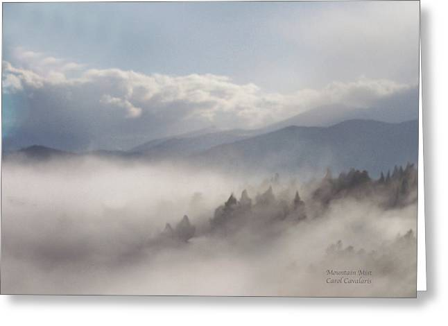 Mood Art Print Greeting Cards - Mountain Mist Greeting Card by Carol Cavalaris