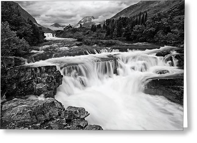 Mountain Paradise In Black And White Greeting Card by Mark Kiver