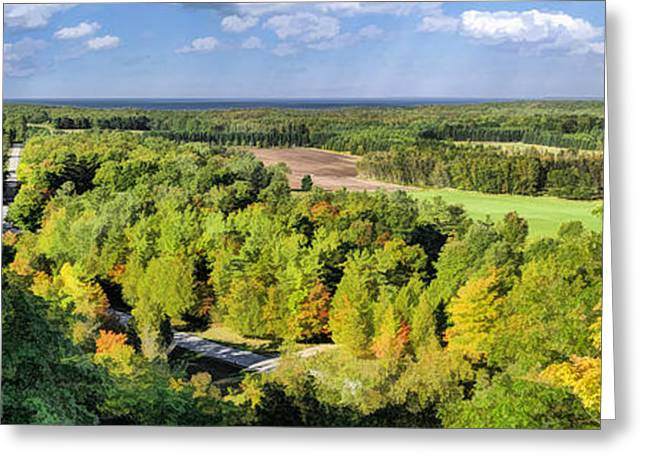 Lookout Tower Greeting Cards - Mountain Park Lookout Panorama on Washington Island Door County Greeting Card by Christopher Arndt