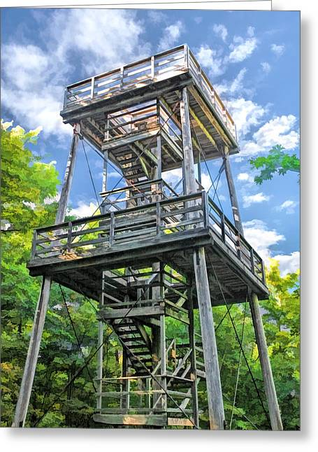 Lookout Tower Greeting Cards - Mountain Park Lookout Tower on Washington Island Door County Greeting Card by Christopher Arndt