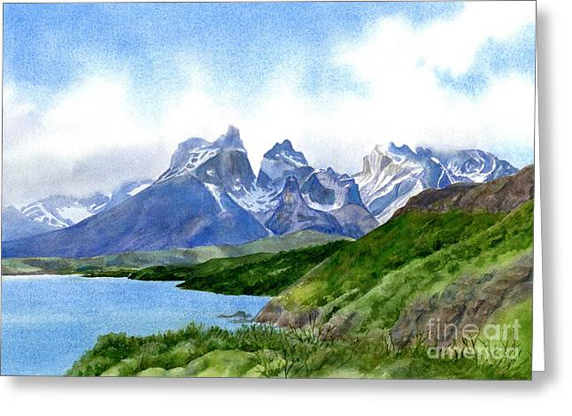 Glacial Greeting Cards - Mountain Peaks at Torres del Paine Greeting Card by Sharon Freeman