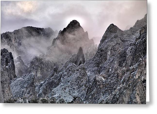 Mountain Peaks Greeting Card by Leland D Howard
