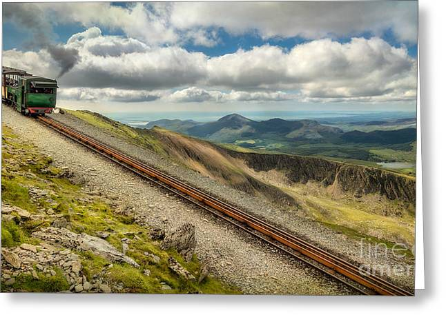 Smoke Trail Greeting Cards - Mountain Railway Greeting Card by Adrian Evans