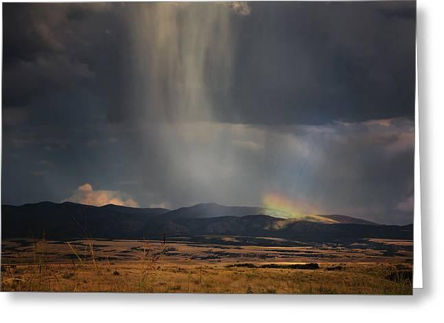 Raining Greeting Cards - Mountain Rainbow Greeting Card by Janet Ballard