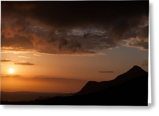 Winter Storm Greeting Cards - Mountain range and dramatic sky during sunset Greeting Card by Michalis Ppalis