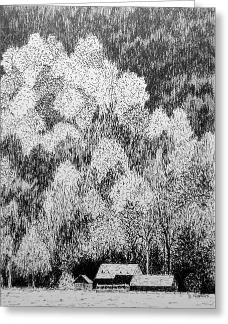 Mountain Cabin Drawings Greeting Cards - Mountain Retreat Greeting Card by Sandra Norris