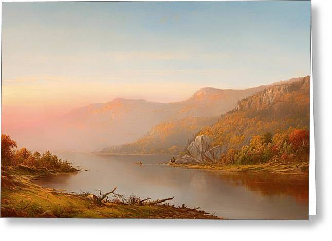 Canoe Paintings Greeting Cards - mountain river scene autumn of the Hudson Greeting Card by Charles Wilson Knapp