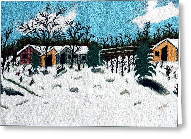 Mountain Tapestries - Textiles Greeting Cards - Mountain sawmill Greeting Card by Mimoza Xhaferi