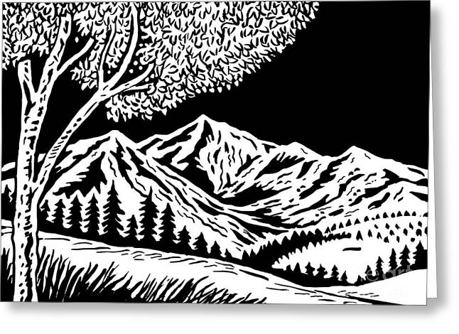 Mountain Scene Greeting Card by Aloysius Patrimonio