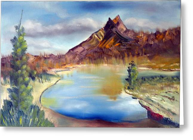 Mountains Sculptures Greeting Cards - Mountain Scene with Lake Greeting Card by Miriam Besa