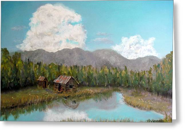 Shack Pastels Greeting Cards - Mountain Shack Greeting Card by John De Young