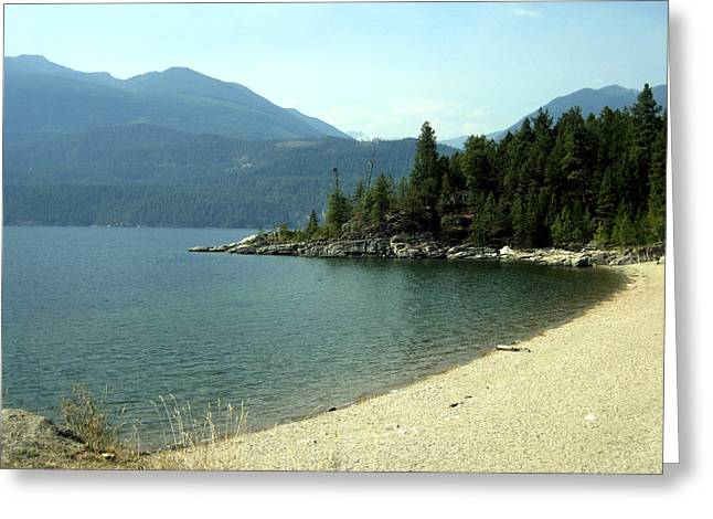 Annpowellart Greeting Cards - Mountain Shoreline Greeting Card by Ann Powell