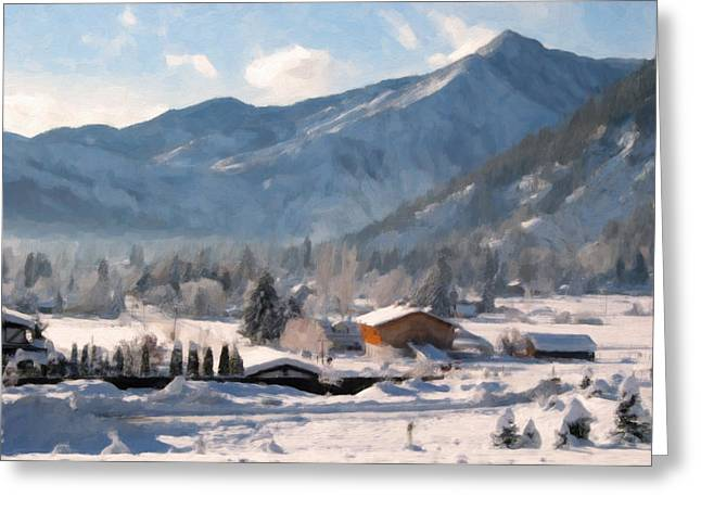 Snowscape Paintings Greeting Cards - Mountain Snowscape Greeting Card by Danny Smythe