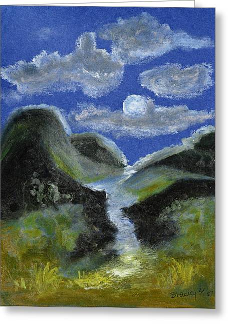 Creek Pastels Greeting Cards - Mountain Spring In The Moonlight Greeting Card by Donna Blackhall