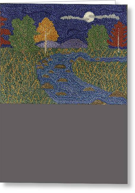 Primitive Tapestries - Textiles Greeting Cards - Mountain Stream Greeting Card by Jan Schlieper
