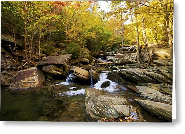 Stream Digital Art Greeting Cards - Mountain Stream Greeting Card by Paul Bartoszek