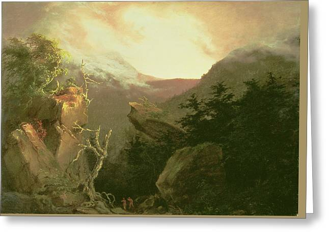 American Country Art Greeting Cards - Mountain Sunrise Greeting Card by Thomas Cole