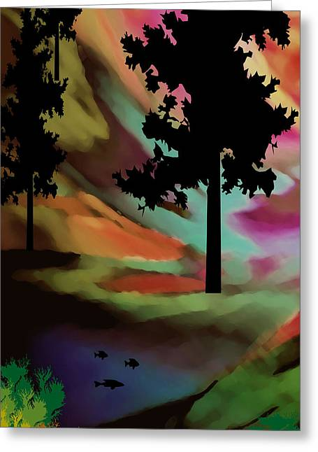 Sunset Abstract Greeting Cards - Mountain Sunset Il Greeting Card by Kathy Franklin
