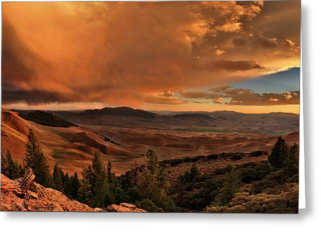 Mountain Sunset Greeting Card by Leland D Howard