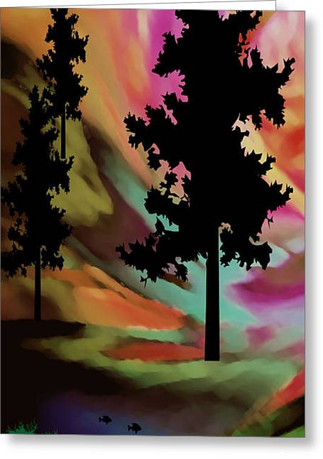Stream Digital Art Greeting Cards - Mountain Sunset VI Greeting Card by Kathy Franklin