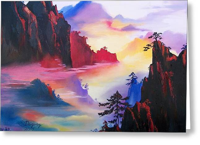 Haze Paintings Greeting Cards - Mountain Top Sunrise Greeting Card by Sharon Duguay