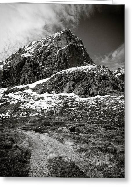 Rugged Mountains Greeting Cards - Mountain Track Greeting Card by Dave Bowman