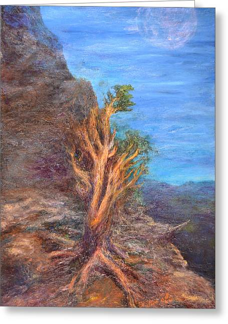 Pinion Paintings Greeting Cards - Mountain Tree with Moon Greeting Card by Walter James Artist