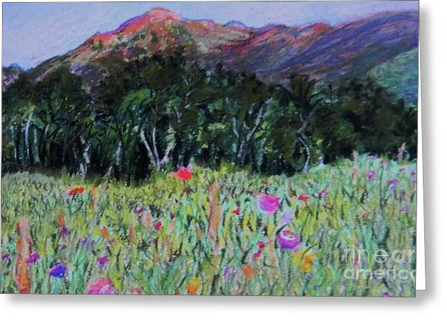 Horizon Pastels Greeting Cards - Mountain Trees and Flowers Greeting Card by Emily Michaud