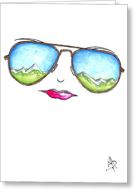 Refelctions Greeting Cards - Mountain View Aviator Sunglasses PoP Art Painting Pink Lips Aroon Melane 2015 Collection Greeting Card by Megan Duncanson