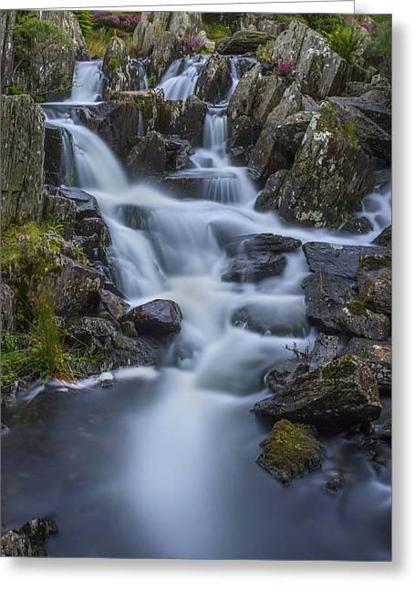 Beautiful Creek Greeting Cards - Mountain Waterfall Greeting Card by Ian Mitchell