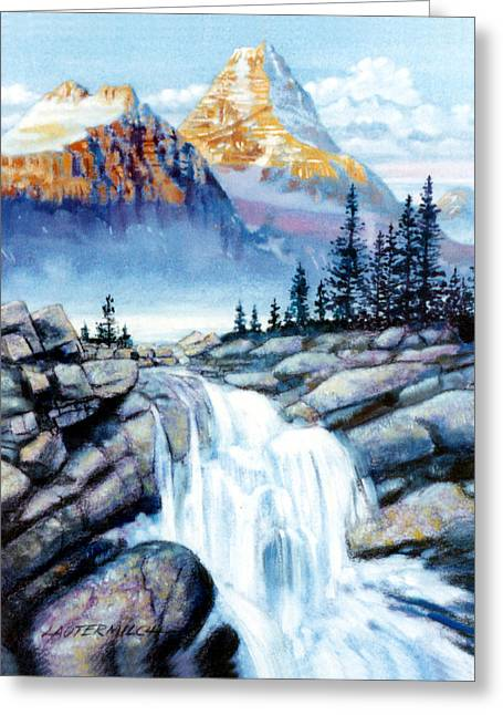 Mountain Paintings Greeting Cards - Mountain Waterfall Greeting Card by John Lautermilch