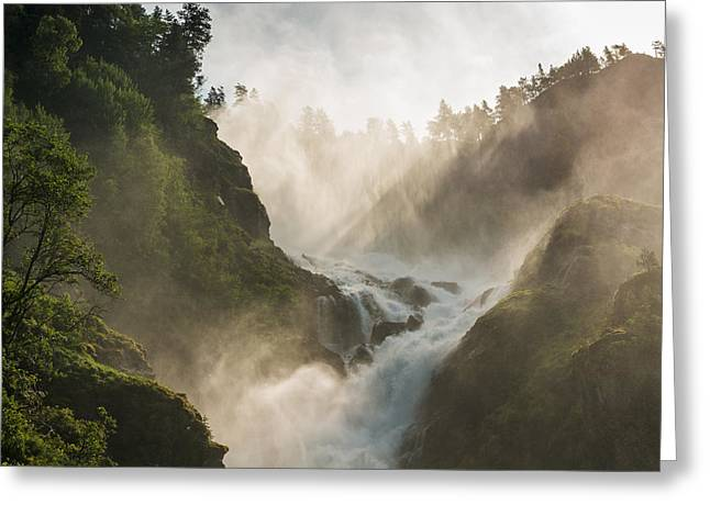 Beautiful Creek Pyrography Greeting Cards - Mountain waterfall with the spray of droplets Greeting Card by Pavlo Kolotenko