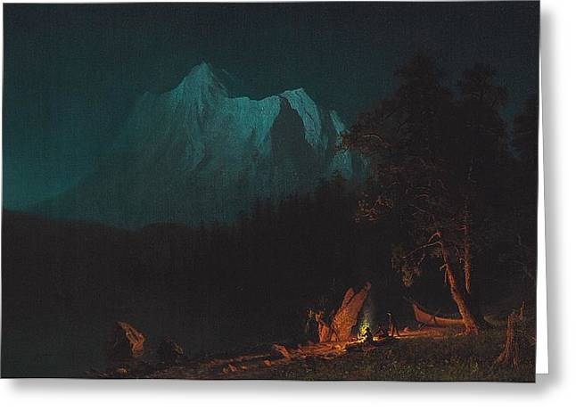 Romanticist Greeting Cards - Mountainous Landscape by Moonlight Greeting Card by Albert Bierstadt