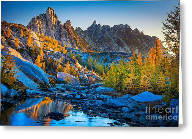 Reflected Greeting Cards - Mountainous Paradise Greeting Card by Inge Johnsson