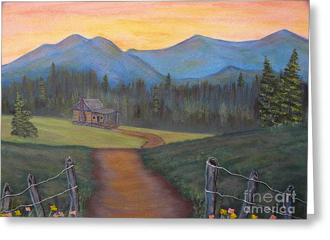 Log Cabins Greeting Cards - Mountains Aglow Greeting Card by Jody Curran
