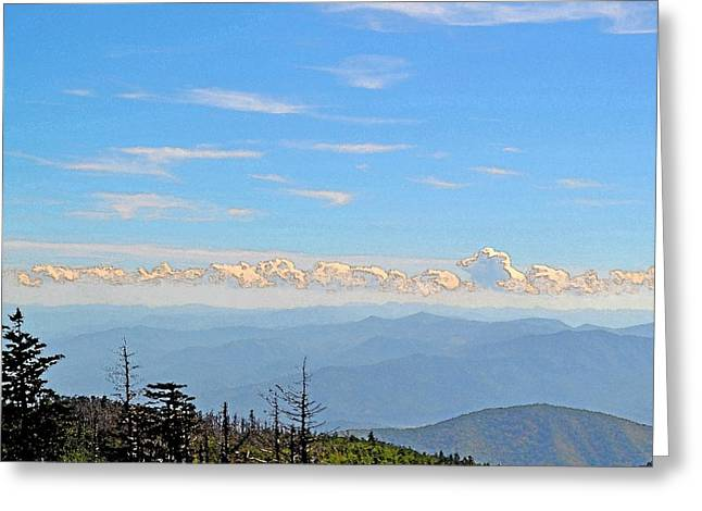 Haze Greeting Cards - Mountains and Clouds Greeting Card by James Fowler