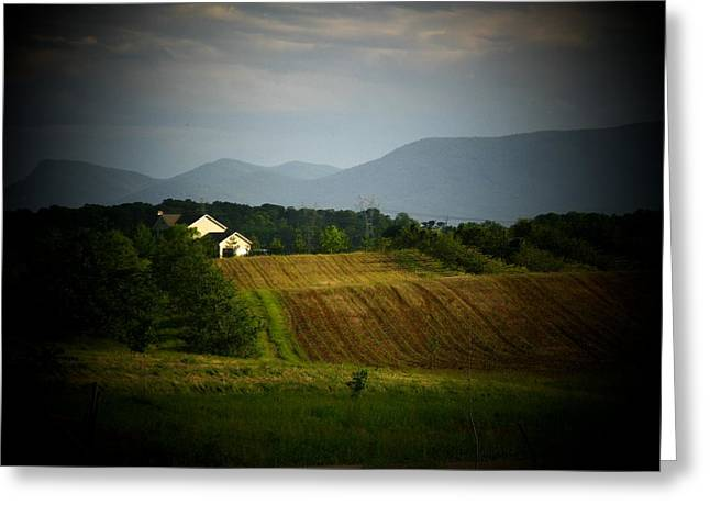 Shenandoah Valley Greeting Cards - Mountains And Farm Greeting Card by Joyce Kimble Smith