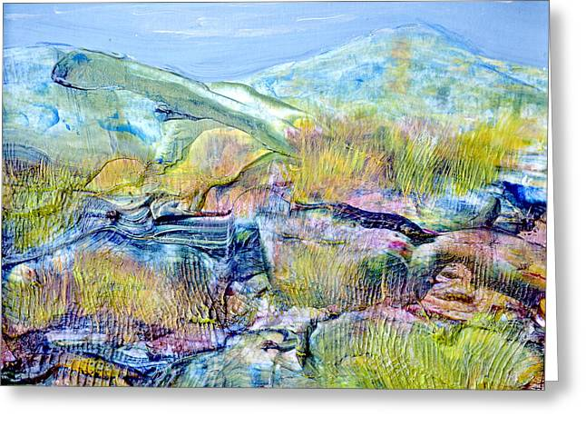 Mountains And Marsh Greeting Card by Regina Valluzzi
