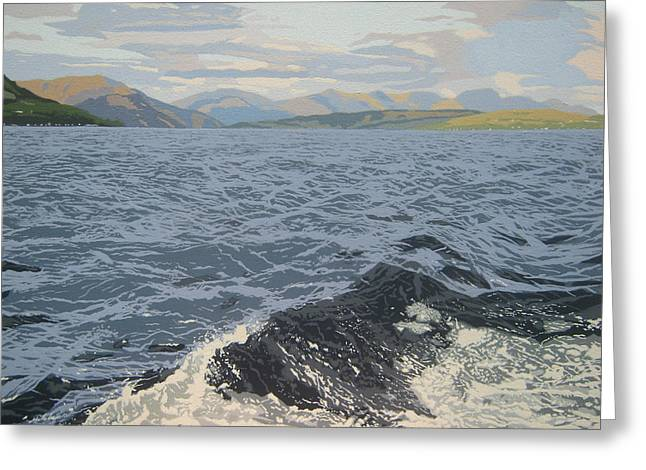 Scottish Art Greeting Cards - Mountains and waves Greeting Card by Malcolm Warrilow