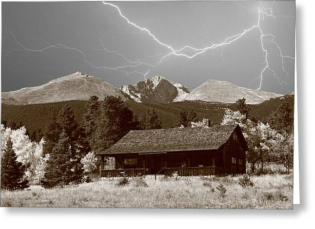 Images Lightning Greeting Cards - Mountains Cabin - Lightning - Longs Peak Greeting Card by James BO  Insogna