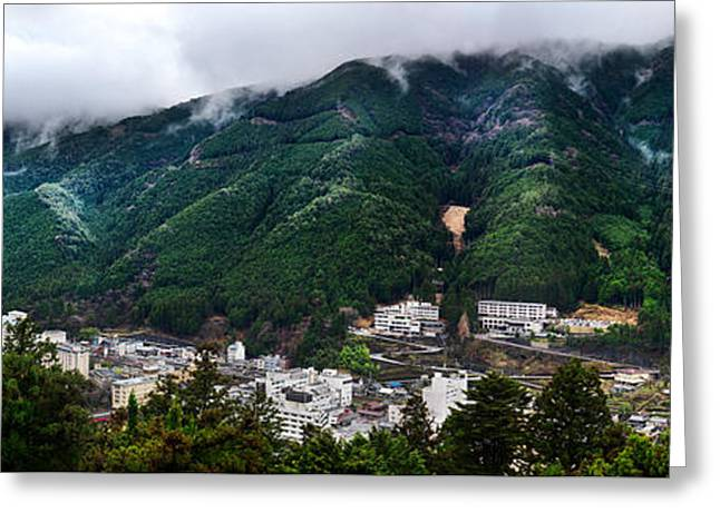 """japan City"" Greeting Cards - Mountains in Gero Japan Greeting Card by Oleksiy Maksymenko"