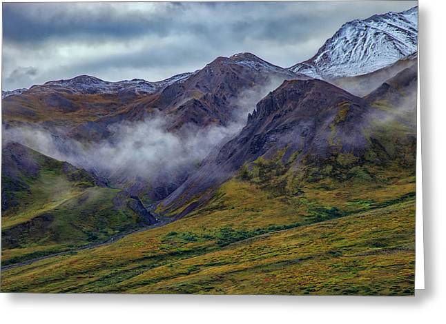 Mountains In The Mist Greeting Card by Rick Berk
