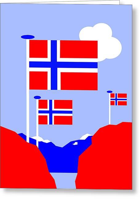 Asbjorn Lonvig Digital Art Greeting Cards - Mountains Lakes and Flags Greeting Card by Asbjorn Lonvig
