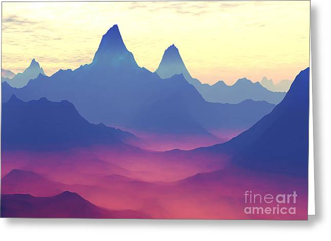 Fantasy World Greeting Cards - Mountains of Another World Greeting Card by Phil Perkins
