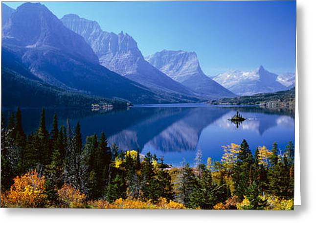 Lake Mcdonald Greeting Cards - Mountains Reflected In Lake, Glacier Greeting Card by Panoramic Images