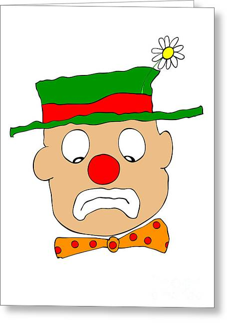 Jester Greeting Cards - Mournful Clown Greeting Card by Michal Boubin