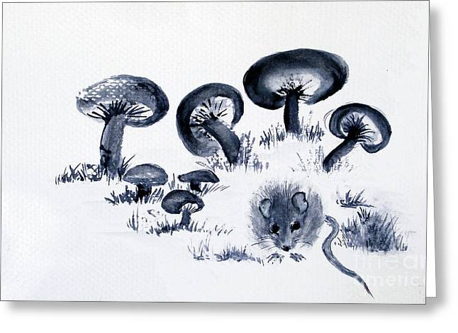 Mouse N Mushrooms Greeting Card by Sibby S