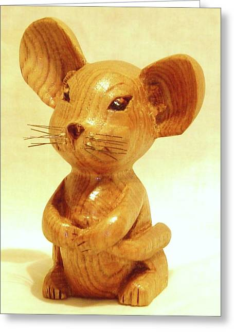 Woodcarving Sculptures Greeting Cards - Mouse Greeting Card by Russell Ellingsworth